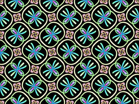 Oriental seamless pattern blue color, illustration. Flower Mandala. Vintage decorative elements. Ornament. Isolated on a black background. Imagens