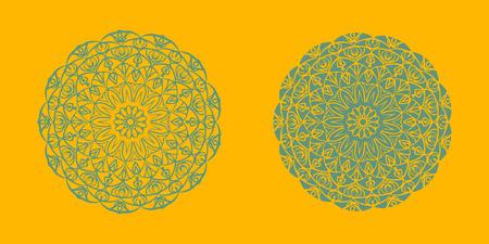 Yoga ornamental emblems biljna arabeska and mandala set. Vector geometric symbols with typography. Graphic templates for relax or spa center, yoga studio, healthcare and traditional medicine. part 11 Imagens - 126315198