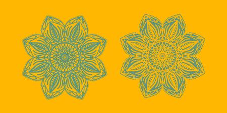Yoga ornamental emblems biljna arabeska and mandala set. Vector geometric symbols with typography. Graphic templates for relax or spa center, yoga studio, healthcare and traditional medicine. part 10 Imagens - 126315203