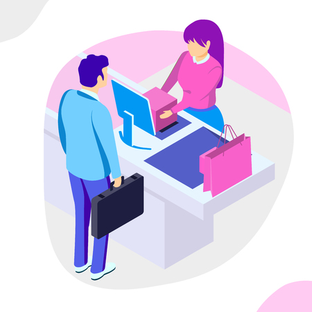 Sale, consumerism and people concept. Man shop online using smartphone. Landing page template. 3d vector isometric illustration.
