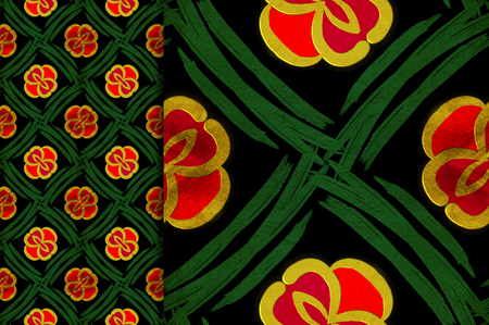 Oriental pattern red and green color, illustration. Flower Mandala. Vintage decorative elements. Ornament. Isolated on a black background. You only need to crop