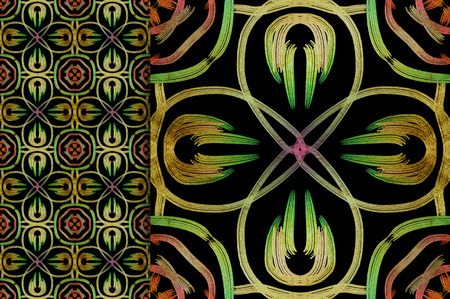 Oriental pattern green color, illustration. Flower Mandala. Vintage decorative elements. Ornament. Isolated on a black background. You only need to crop