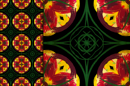 Oriental pattern green and yellow color, illustration. Flower Mandala. Vintage decorative elements. Ornament. Isolated on a black background. You only need to crop