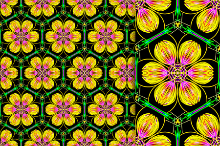 Oriental pattern yellow and green color, illustration. Flower Mandala. Vintage decorative elements. Ornament. Isolated on a black background. You only need to crop