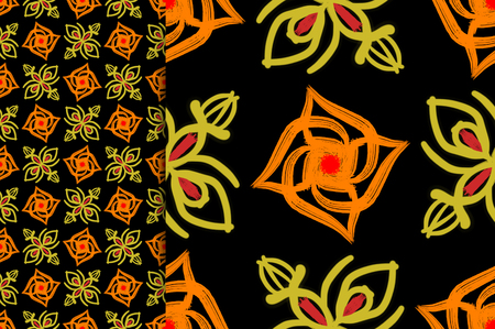 Oriental pattern orange and yellow color, illustration. Flower Mandala. Vintage decorative elements. Ornament. Isolated on a black background. You only need to crop Imagens