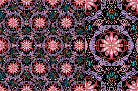 Oriental pattern vintage color, illustration. Flower Mandala. Vintage decorative elements. Ornament. Isolated on a black background. You only need to crop Imagens