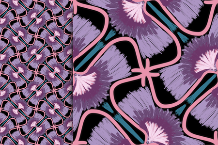 Oriental pattern violet color, illustration. Flower Mandala. Vintage decorative elements. Ornament. Isolated on a black background. You only need to crop