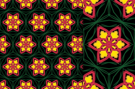 Oriental pattern yellow green color, illustration. Flower Mandala. Vintage decorative elements. Ornament. Isolated on a black background. You only need to crop
