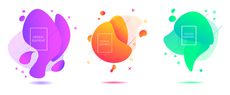 Abstract liquid shape. olors living colar, purple. Fluid design. Isolated gradient waves with geometric lines, dots. Vector illustration isolated on a white background.