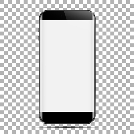 Realistic smartphone in black color with blank touch screen. Created by your present mobile app design, adaptive web design and davelopment. Isolated on transparancy background