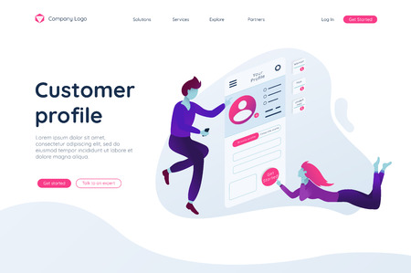 People build a customer profile in a mobile application fly in air. Data analysis and office situations. Isometric vector illustration. Landing page concept. Client profile online marketing dashboard design. Interface