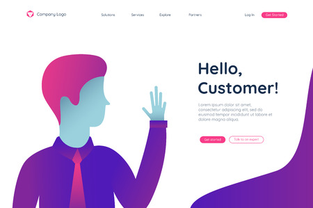 Man, hello customer in a started pages. Flat vector illustration. Landing page concept. Client profile online marketing dashboard design. Interface Reklamní fotografie - 125309230