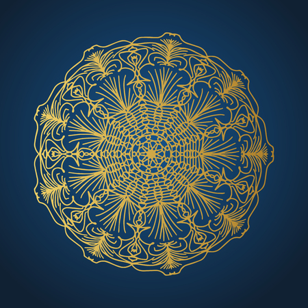 Yoga ornamental gold emblems biljna arabeska and mandala. Vector geometric symbols with typography. Graphic templates for relax or spa center, yoga studio, healthcare and traditional medicine. Imagens - 125277186
