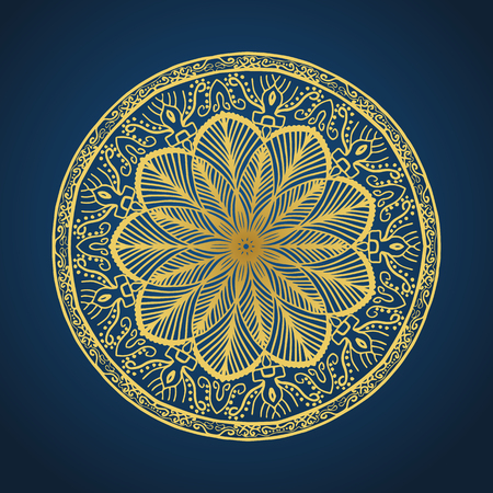 Yoga ornamental gold emblems biljna arabeska and mandala. Vector geometric symbols with typography. Graphic templates for relax or spa center, yoga studio, healthcare and traditional medicine. Banque d'images - 119953981