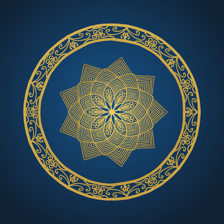 Yoga ornamental gold emblems biljna arabeska and mandala. Vector geometric symbols with typography. Graphic templates for relax or spa center, yoga studio, healthcare and traditional medicine. Reklamní fotografie - 125277193