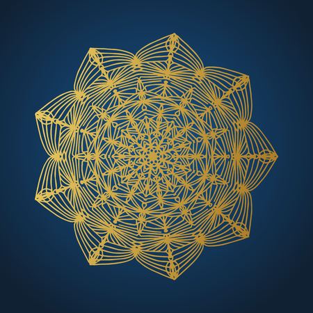 Yoga ornamental gold emblems biljna arabeska and mandala. Vector geometric symbols with typography. Graphic templates for relax or spa center, yoga studio, healthcare and traditional medicine. Imagens - 119953982