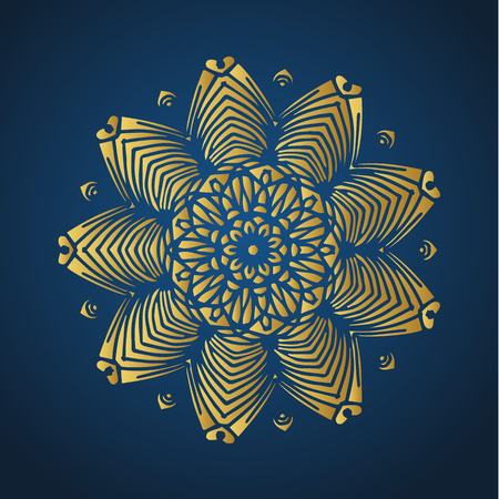 Yoga ornamental gold emblems biljna arabeska and mandala. Vector geometric symbols with typography. Graphic templates for relax or spa center, yoga studio, healthcare and traditional medicine. Banque d'images - 125277196