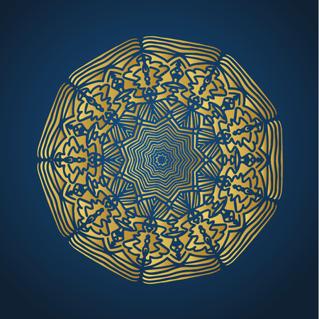 Yoga ornamental gold emblems biljna arabeska and mandala. Vector geometric symbols with typography. Graphic templates for relax or spa center, yoga studio, healthcare and traditional medicine. Imagens - 125277197