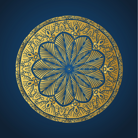 Yoga ornamental gold emblems biljna arabeska and mandala. Vector geometric symbols with typography. Graphic templates for relax or spa center, yoga studio, healthcare and traditional medicine. Banque d'images - 125277198