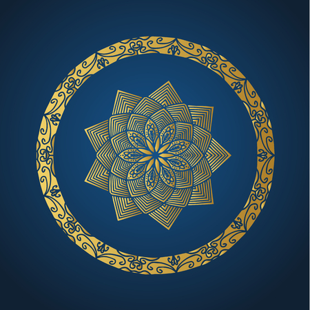 Yoga ornamental gold emblems biljna arabeska and mandala. Vector geometric symbols with typography. Graphic templates for relax or spa center, yoga studio, healthcare and traditional medicine. Reklamní fotografie - 125277199