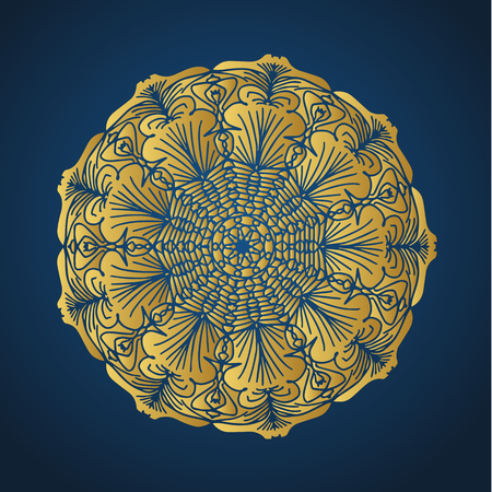 Yoga ornamental gold emblems biljna arabeska and mandala. Vector geometric symbols with typography. Graphic templates for relax or spa center, yoga studio, healthcare and traditional medicine. Banque d'images - 125277201