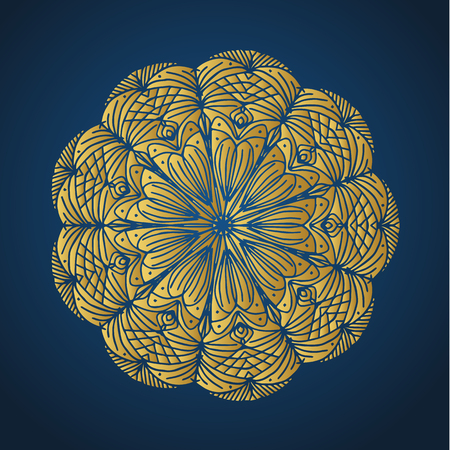 Yoga ornamental gold emblems biljna arabeska and mandala. Vector geometric symbols with typography. Graphic templates for relax or spa center, yoga studio, healthcare and traditional medicine. Banque d'images - 125277205