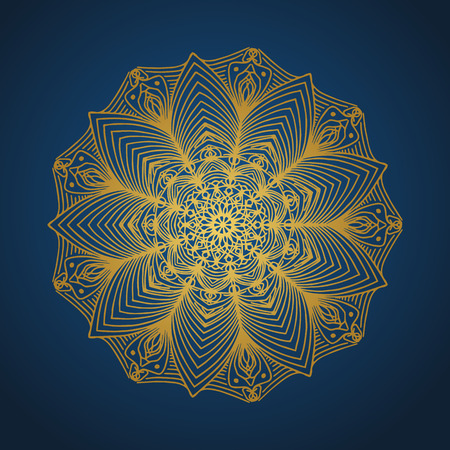 Yoga ornamental gold emblems biljna arabeska and mandala. Vector geometric symbols with typography. Graphic templates for relax or spa center, yoga studio, healthcare and traditional medicine. Banque d'images - 125277206