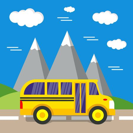 School bus vector illustration. Travel and back too school.