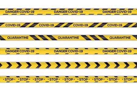Creative vector illustration of black and yellow stripes coronavirus border. Warning quarantine. Set of danger caution seamless tapes. Art design line of virus places. Abstract concept graphic element