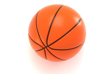 Basketball ball. 3D rendering. Over white background.