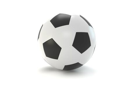Leather soccer ball. Over white background. 3D - rendering. 3D - illustration 版權商用圖片