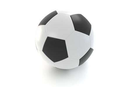 Leather soccer ball. Over white background. 3D rendering. 3D illustration. 版權商用圖片