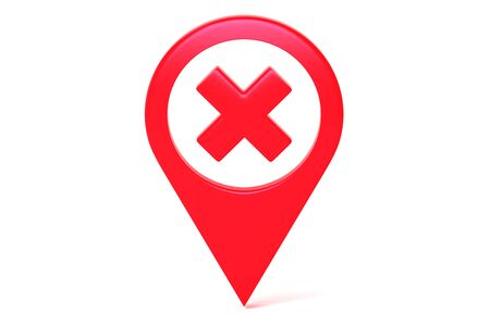 Red Map Geo Tag Pin With Prohibition Sign. Stay Home Warning Sign. Quarantine. Self Isolation. 3d rendering Stockfoto