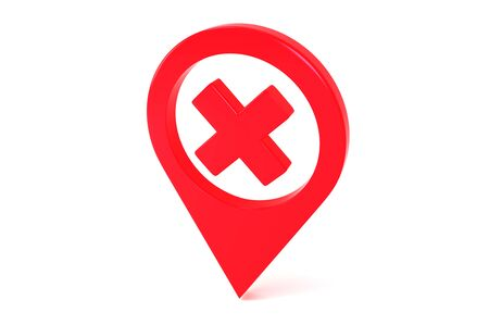 Red Map Geo Tag Pin With Prohibition Sign. Isolated on a white background. Stay Home Warning Sign. Quarantine. Self Isolation. 3d rendering.
