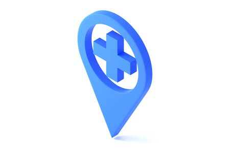 Medical Map Marker glyph icon. Style is flat symbol, blue color, rounded angles, white background.