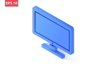 Cool isometric PC monitor. Isolated on a white background. Vector eps10. 向量圖像