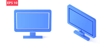 Isometric and front perspective PC monitor. Isolated on a white background.