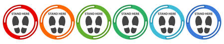 Do not walk or stand here. 6 colors option icon. Vector illustration flat design UI and UX.