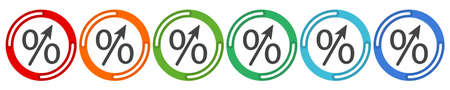 Percent up arrow icon, speedy economic growth concept. 6 colors option icon. Vector illustration flat design UI and UX.