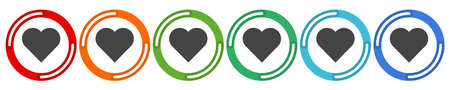 Heart Icon. 6 colors option icon. Vector illustration flat design UI and UX.