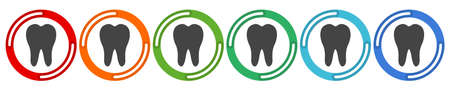 Tooth icon. Dental icons. Vector 6 colors option icon. Vector illustration flat design UI and UX. Ilustrace