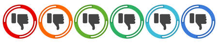 DisLike Thumbs Down symbol icon with beer bottle. Vector 6 colors option icon. Vector illustration flat design UI and UX.