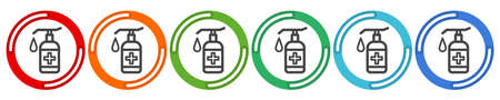 Washing Hands Related Vector Line Icons. Contains such Icons as Washing Instruction, Antiseptic. Vector 6 colors option icon. Vector illustration flat design UI and UX