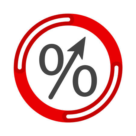 Percent up arrow icon, speedy economic growth concept. Vector illustration flat design UI and UX.