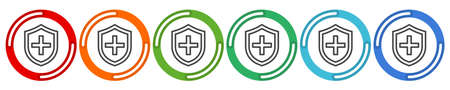 Virus protection, hygiene shield, bacterial prevention, thin line web symbol on white background