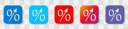 Percent up arrow icon, speedy economic growth concept. 5 colors option icon. Vector illustration flat design UI and UX. Isolated on a transparancy background.