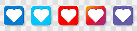 Heart Icon. 5 colors option icon. Vector illustration flat design UI and UX. Isolated on a transparancy background.