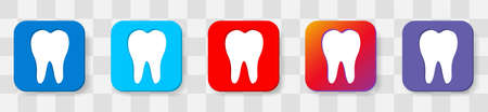 Tooth icon. Dental icons. Vector 6 colors option icon. Vector illustration flat design UI and UX Ilustrace