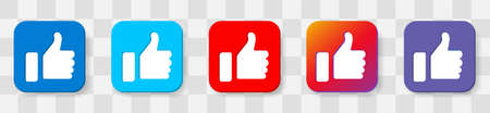 Like Thumbs Up symbol icon. Vector 6 colors option icon. Vector illustration flat design UI and UX Ilustrace