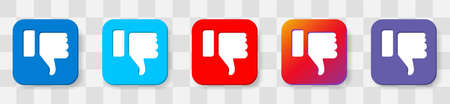 DisLike Thumbs Down symbol icon. Vector 6 colors option icon. Vector illustration flat design UI and UX